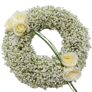 Gypsophila and Rose Open Round  Wreath