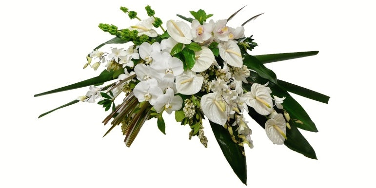 Modern White Casket Spray