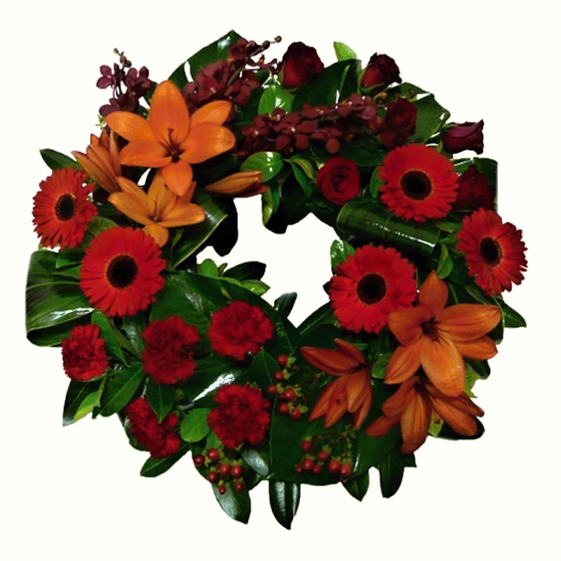 Red and Orange Cluster Open Wreath