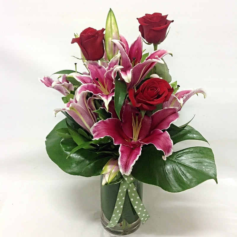 Pink Lillies and Red Roses