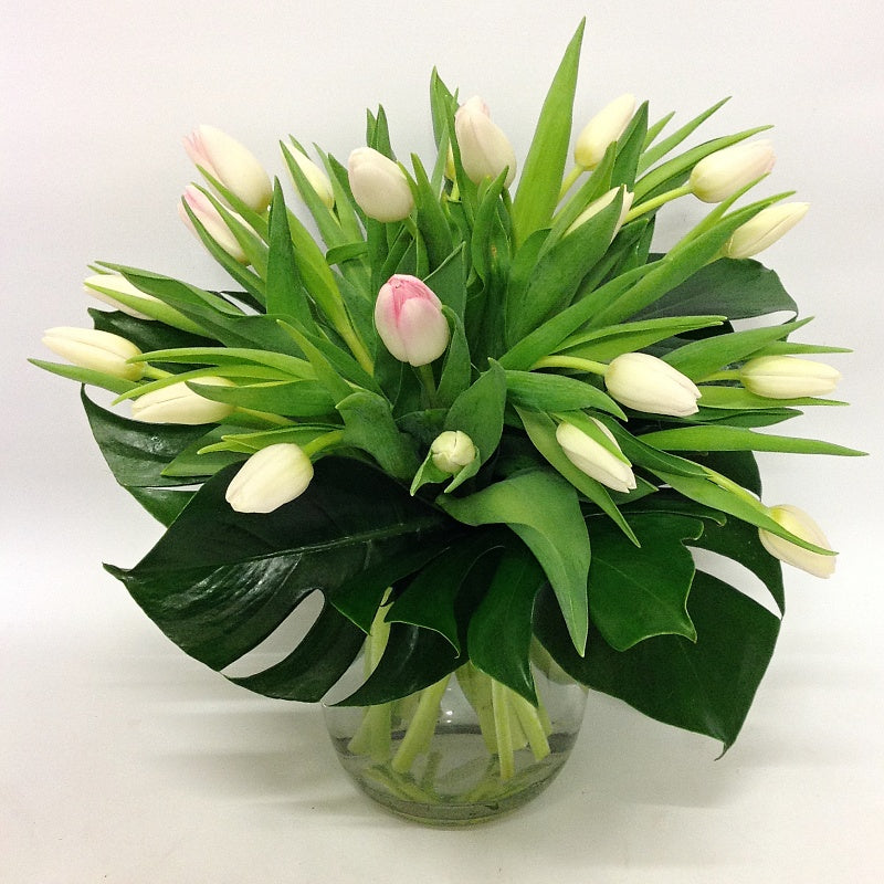 Tulips in a Fish Bowl Vase