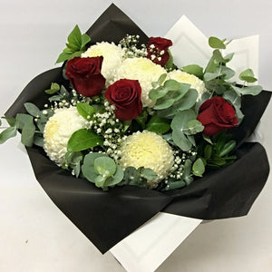 White Chyrysanthemums and Roses Bouquet