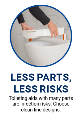 Choose commodes and toileting aids with less parts for better infection control