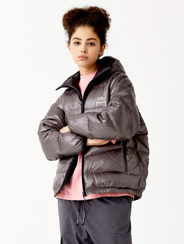 BACK LOGO LIGHT DOWN JACKET (2Colors DARK GREY, BLACK)