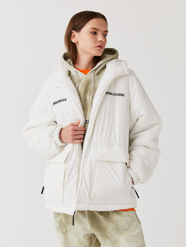 REVERSIBLE SHERPA PADDED JACKET (2Colors - WHITE/WHITE or OFFWHITE/BLACK)