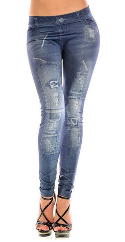 Blue Faux Patched Denim Leggings Design 506
