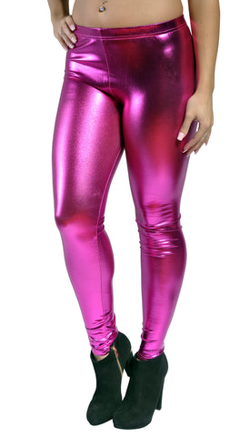 Hot Pink Wet Look Leggings Design 162