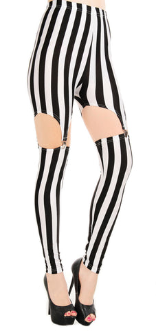 Black and White Stripes Garter Leggings Design 182