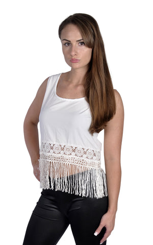 Women's Tassle Tank Top White