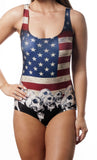 USA Flag and Skulls One-Piece Women's Swimsuit Design 5008