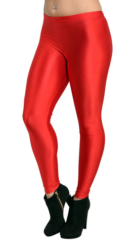 Women's Shiny Candy Neon Leggings Red