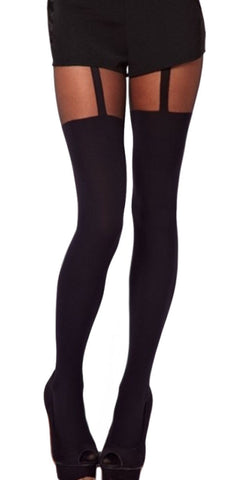 Black Mock Suspender Pantyhose Design 4002