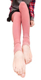 Pink Ribbed Stirrup Leggings Design 302