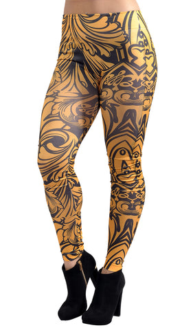 Black and Yellow Tribal Leggings Design 187