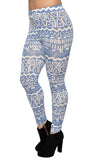 Blue and White Tribal Leggings Design 212