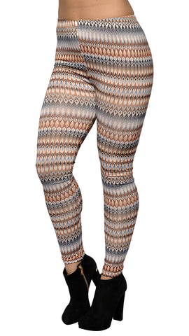 Blue and Brown Kaleidoscope Leggings Design 566