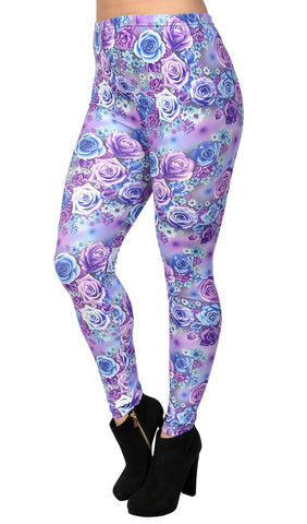 Blue and Purple Floral Leggings Design 406