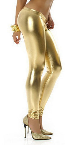 Gold Wet Look Leggings Design 161