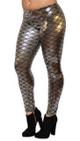 Shiny Silver Mermaid Leggings Design 316