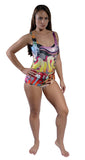 Street Graffiti One-Piece Swimsuit Design 5003