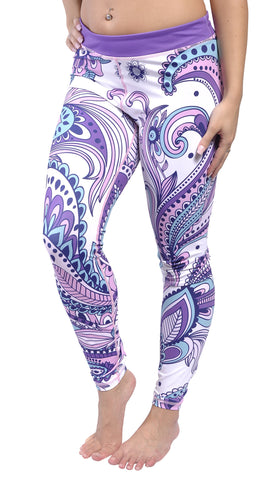 Purple Pink and White Yoga Leggings Design 631