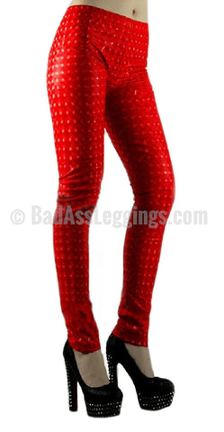 Red 3D Stereoscopic Leggings Design 97