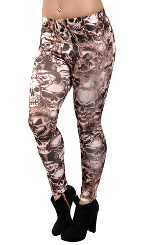Khaki Brown Lots Of Skulls Leggings Design 11