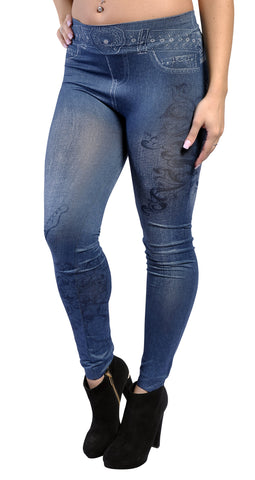Blue Faux Denim Jean Leggings Design 426