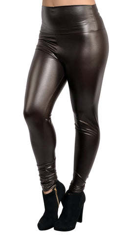 Brown Faux Leather High Waist Leggings Design 366