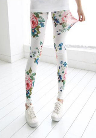 Sheer White Floral Leggings Design 151