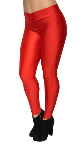 Red Shiny V-waist Leggings Design 323