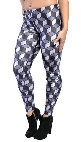 Black and Gray Cubes Leggings Design 443