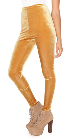 Gold Velvet Leggings Design 63