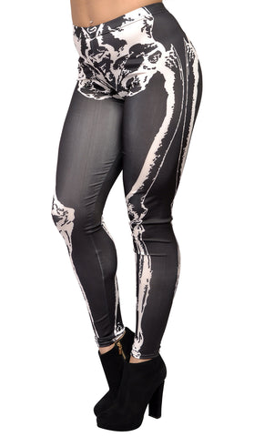 Black And White X-ray Skeleton Bones Leggings Design 100