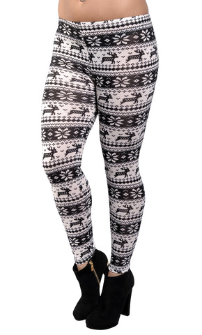 Black and White Knit Reindeer Leggings Design 136