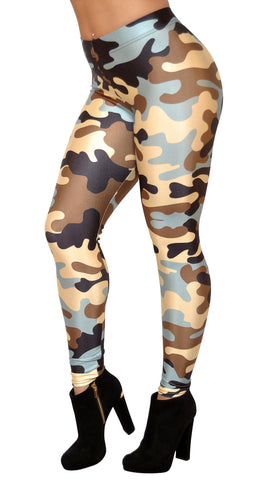 Blue Brown and Black Camo Leggings Design 478