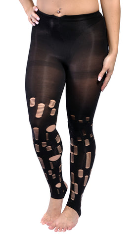 Ripped Black Look Leggings Design 21