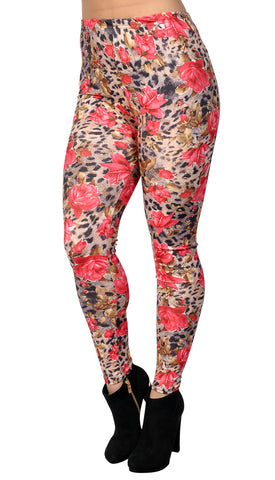 Floral Cheetah Leggings Design 409