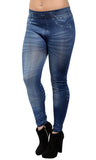 Blue Faux Faded Denim Jean Leggings Design 251