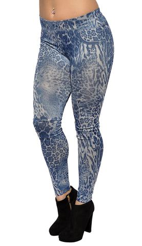 Blue Leopard Print Jean Leggings Design 458