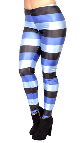 Black and Blue Stripes Leggings Design 31