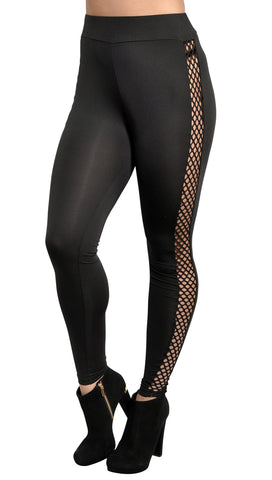 Black Side Cutout Leggings Design 327