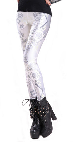 White and Silver Gears Leggings Design 272