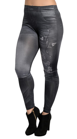 Black Faux Denim Jean Butterfly Artwork Leggings Design 373