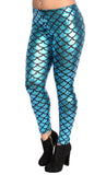 Shiny Teal Mermaid Leggings Design 208