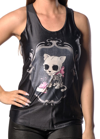 Black Zombie Cat Tank Top Design 13081
