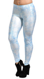 Blue with White Snowflakes Leggings Design 274