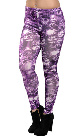 Purple Lots of Skulls Leggings Design 8