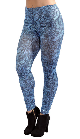 Blue Floral Leggings Design 186