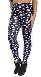 Black with White Five Point Stars Leggings Design 383